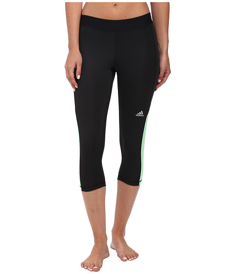 adidas - Techfit Capris (Black/Light Flash Green) Women's Capri