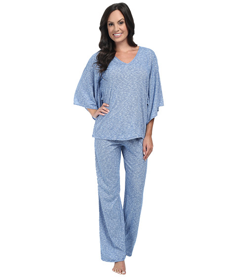 N by Natori - Slub Jersey PJ (Deco Blue) Women's Pajama Sets