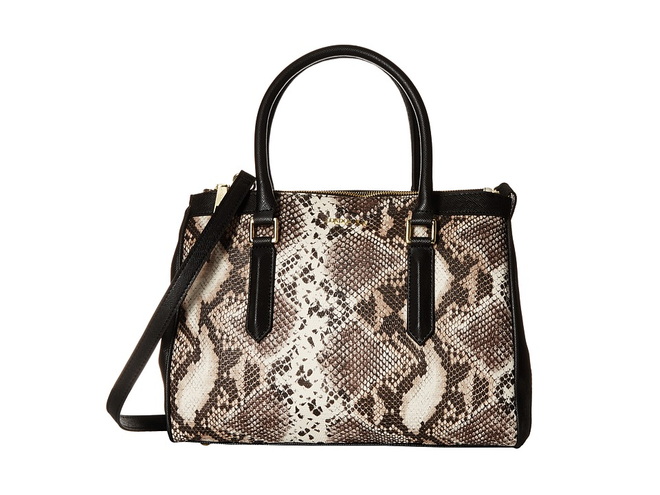 London Fog - Anise Triple Tote (Black/White Snake) Satchel Handbags