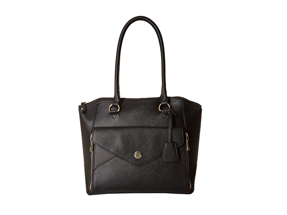 London Fog - Fenwick North/South Tote (Black) Tote Handbags