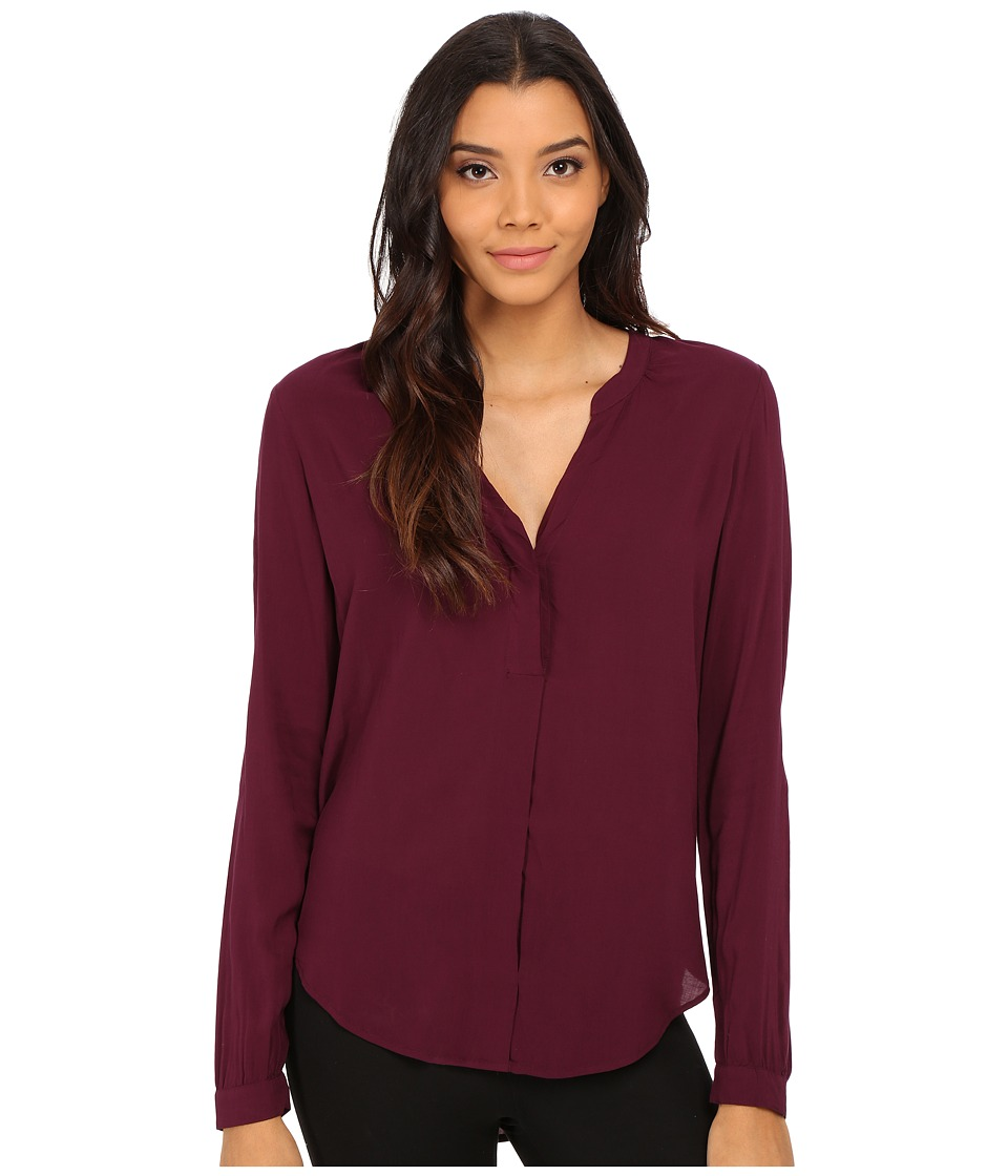 Velvet by Graham & Spencer - Kinzly Long Sleeve Peasant Top (Cabernet) Women's Blouse