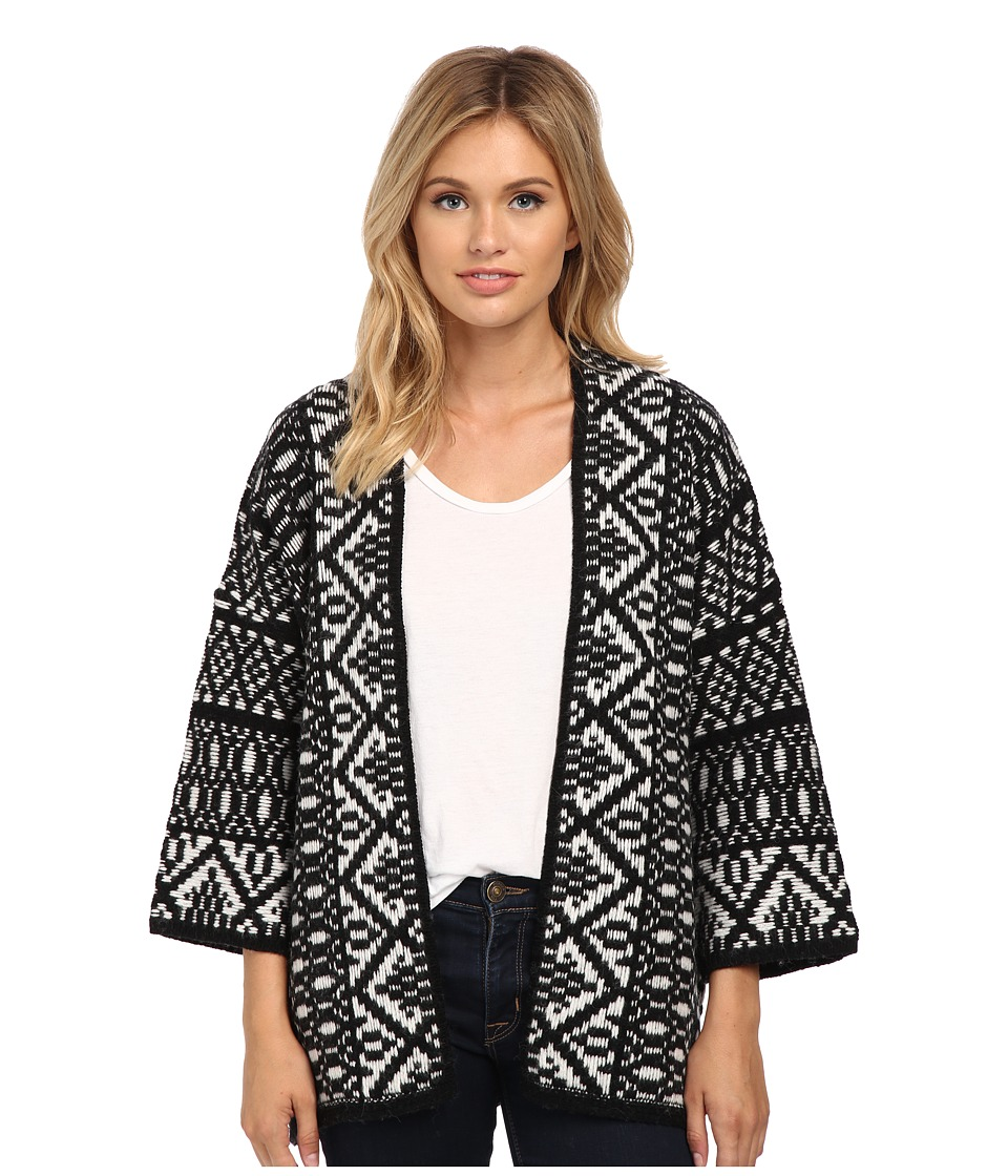 Velvet by Graham & Spencer - Yolo Poncho Cardi (Black/Milk) Women's Sweater