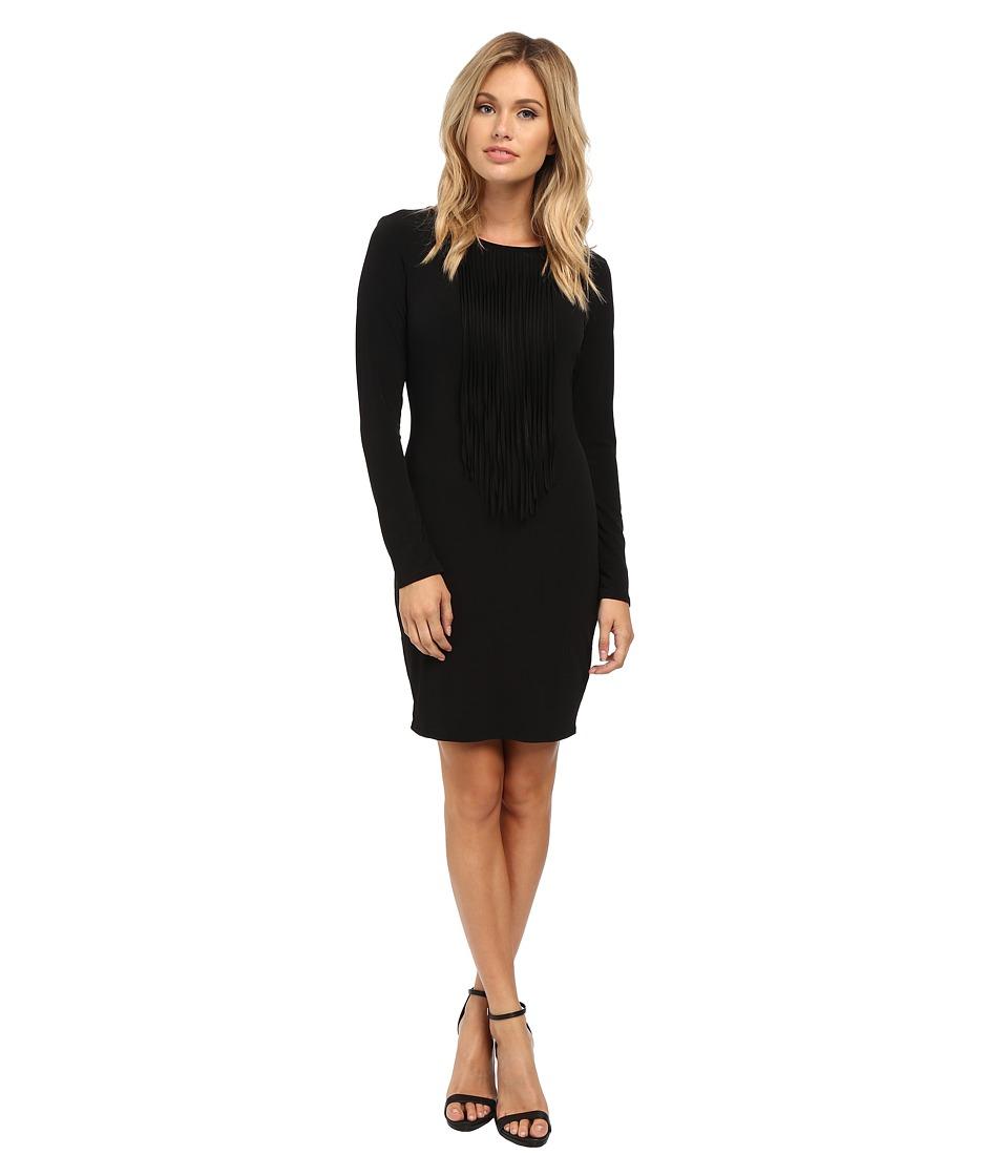 Velvet by Graham & Spencer - Violet Fringe Front Dress (Black) Women's Dress
