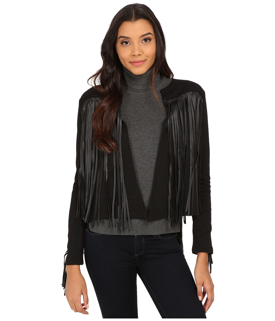 Velvet by Graham & Spencer - Tiffany Fringe Jacket (Black) Women's Coat
