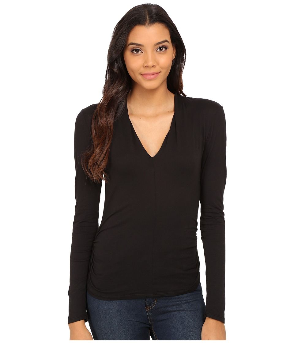 Velvet by Graham & Spencer - Waylyn Long Sleeve V-Neck Top (Black) Women's Clothing