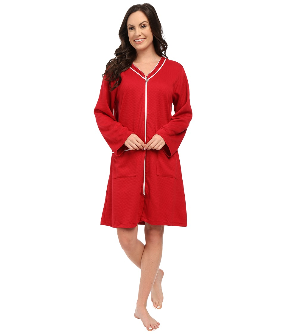 Eileen West - Short Zip Robe (Solid Scarlet) Women's Robe