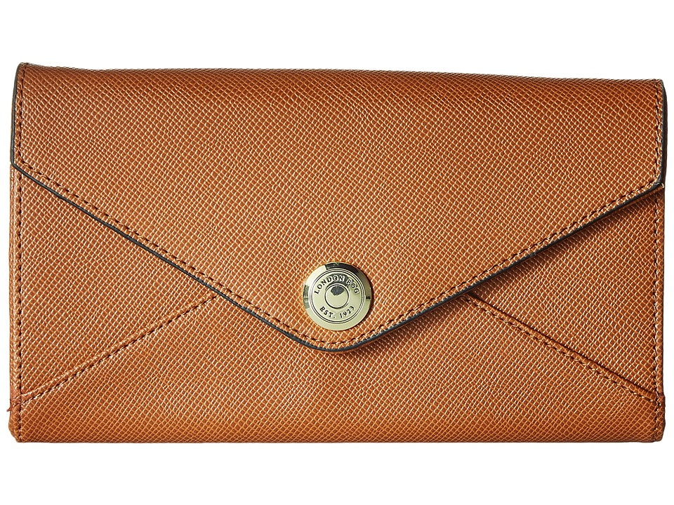 London Fog - Markham Crossbody Tech Wallet (Cognac) Cross Body Handbags