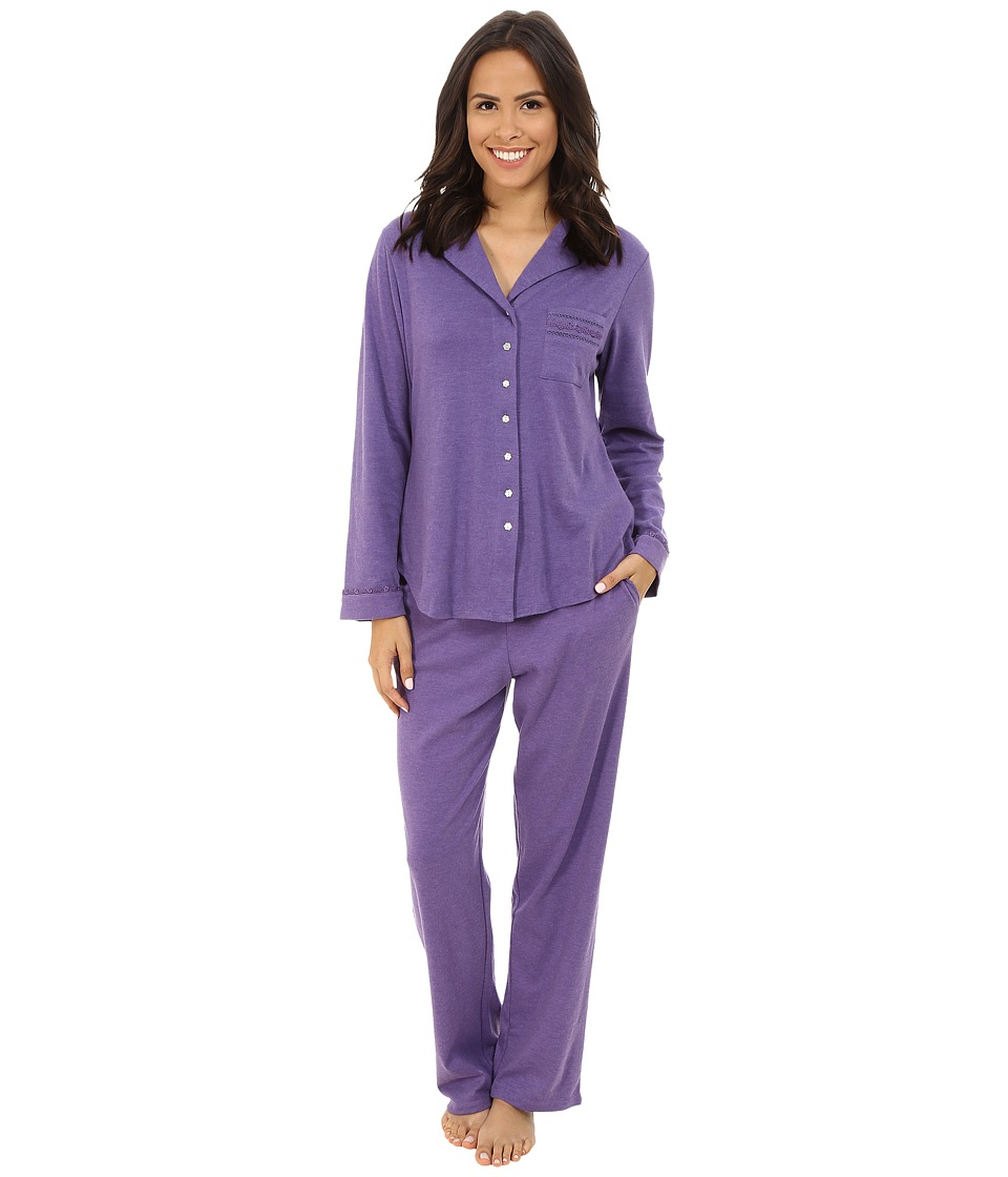 Eileen West - Notch Collar Pajama (Purple Heather) Women's Pajama Sets