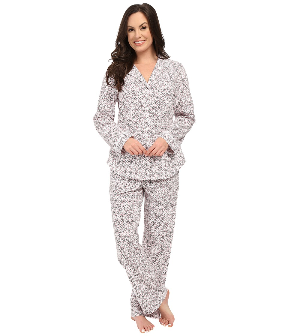 Eileen West - Notch Collar Pajama (White/Ditsy) Women's Pajama Sets