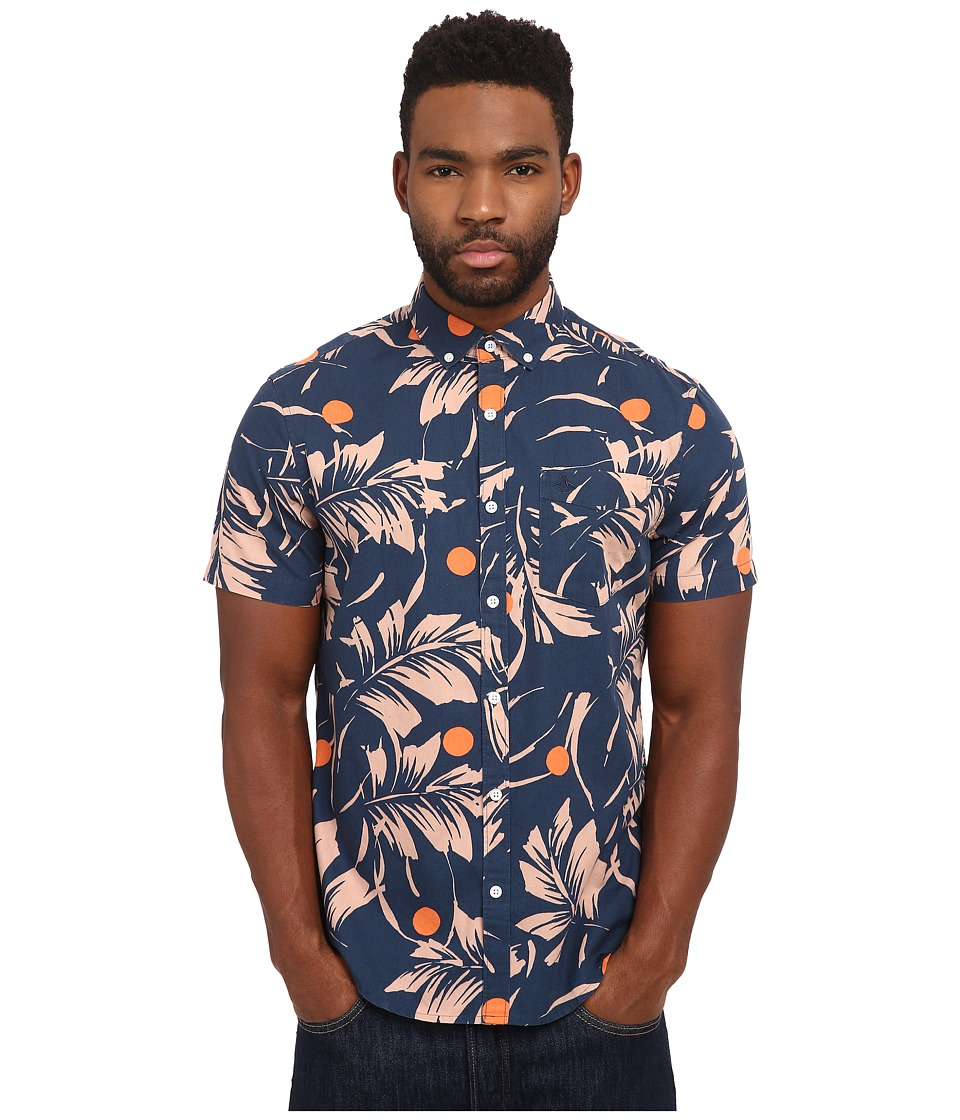Original Penguin - Printed Short Sleeve Poplin Shirt (Dress Blues) Men's Clothing