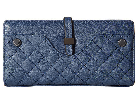 Steve Madden - Hasp Tab Wallet Quilted (Navy) Wallet Handbags