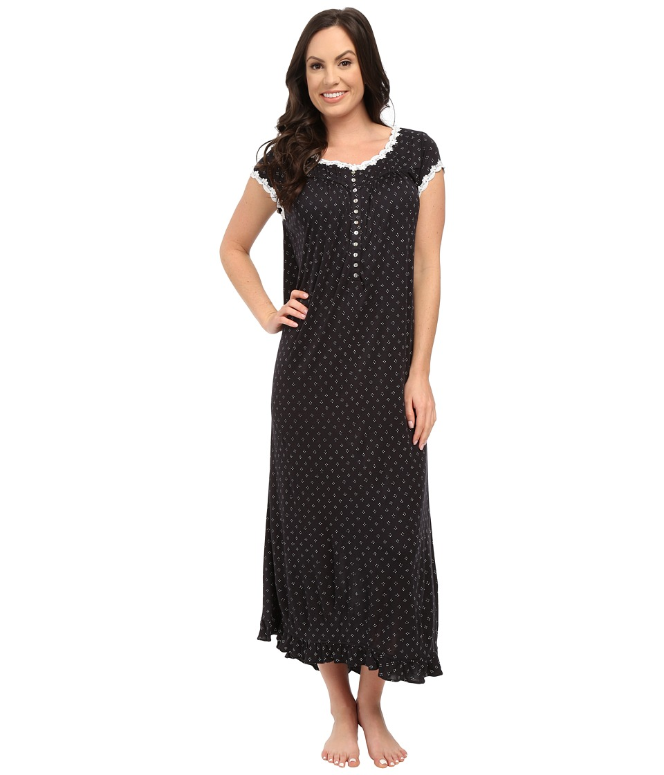 Eileen West - Ballet Nightgown (Black Ground Dot) Women's Pajama