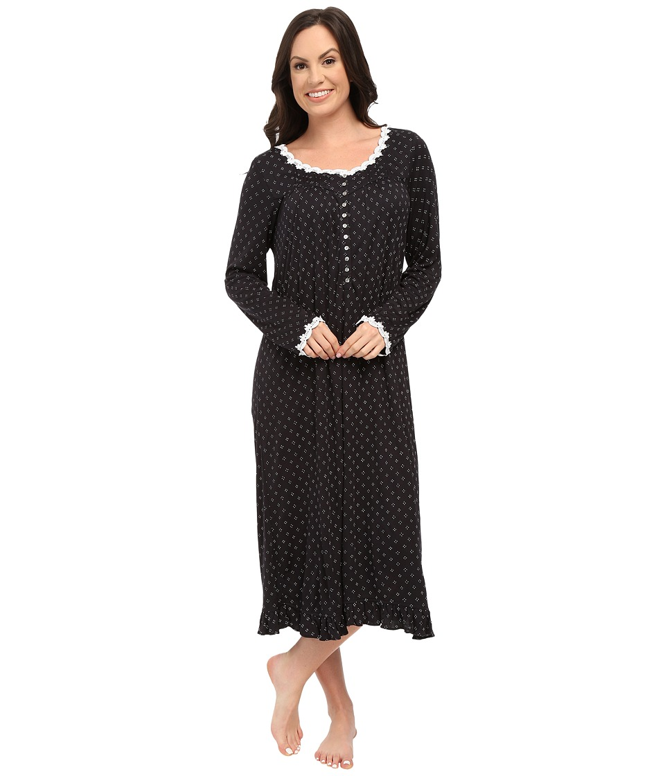 Eileen West - Waltz Nightgown (Black Ground Dot) Women's Pajama
