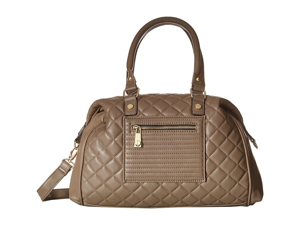 Steve Madden - Bathena Quilted Lamby Satchel (Smoke) Satchel Handbags