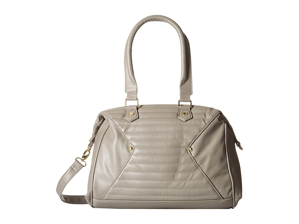 Steve Madden - Bavena Quilted Lamby/Distressed Satchel (Grey) Satchel Handbags