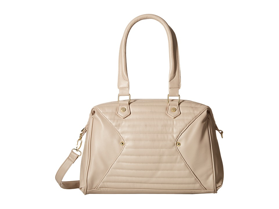 Steve Madden - Bavena Quilted Lamby/Distressed Satchel (Cream) Satchel Handbags