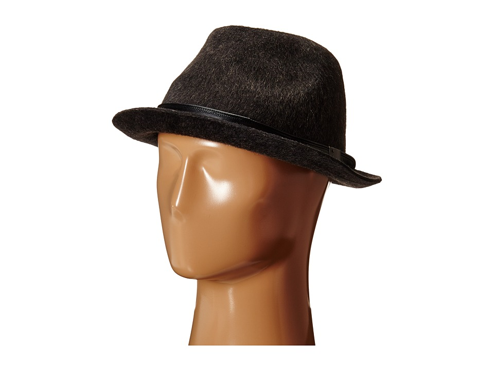 John Varvatos Star U.S.A. - Long Hair Wool Felt (Charcoal) Fedora Hats