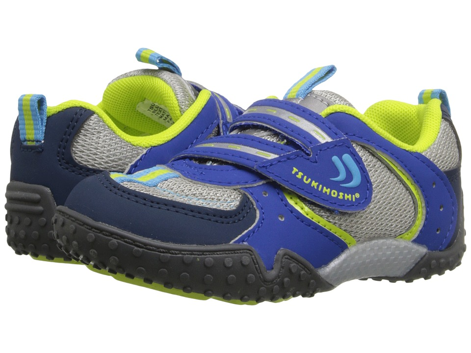 Tsukihoshi Kids - Wheel (Toddler/Little Kid) (Blue/Lime) Boys Shoes