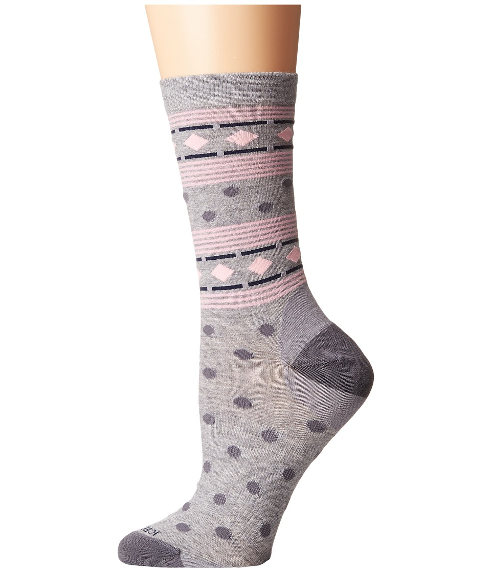 Icebreaker - Lifestyle Fine Gauge Ultra Light Crew Geometry (Blizzard Heather/Jet Heather/Camellia) Women's Crew Cut Socks Shoes