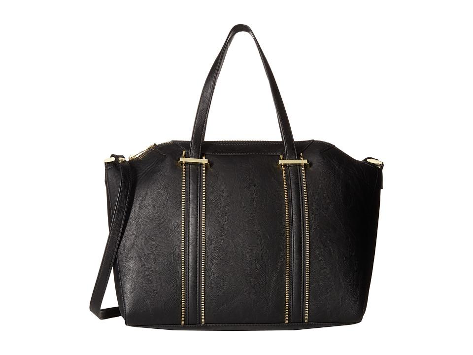 Steve Madden - Bswank Satchel with Pop Zip Tape (Black) Satchel Handbags