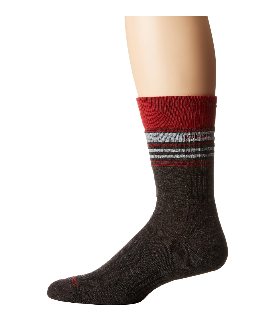 Icebreaker - Hike Medium Crew (Earthen Heather/Rocket/Blizzard Heather) Men's Crew Cut Socks Shoes