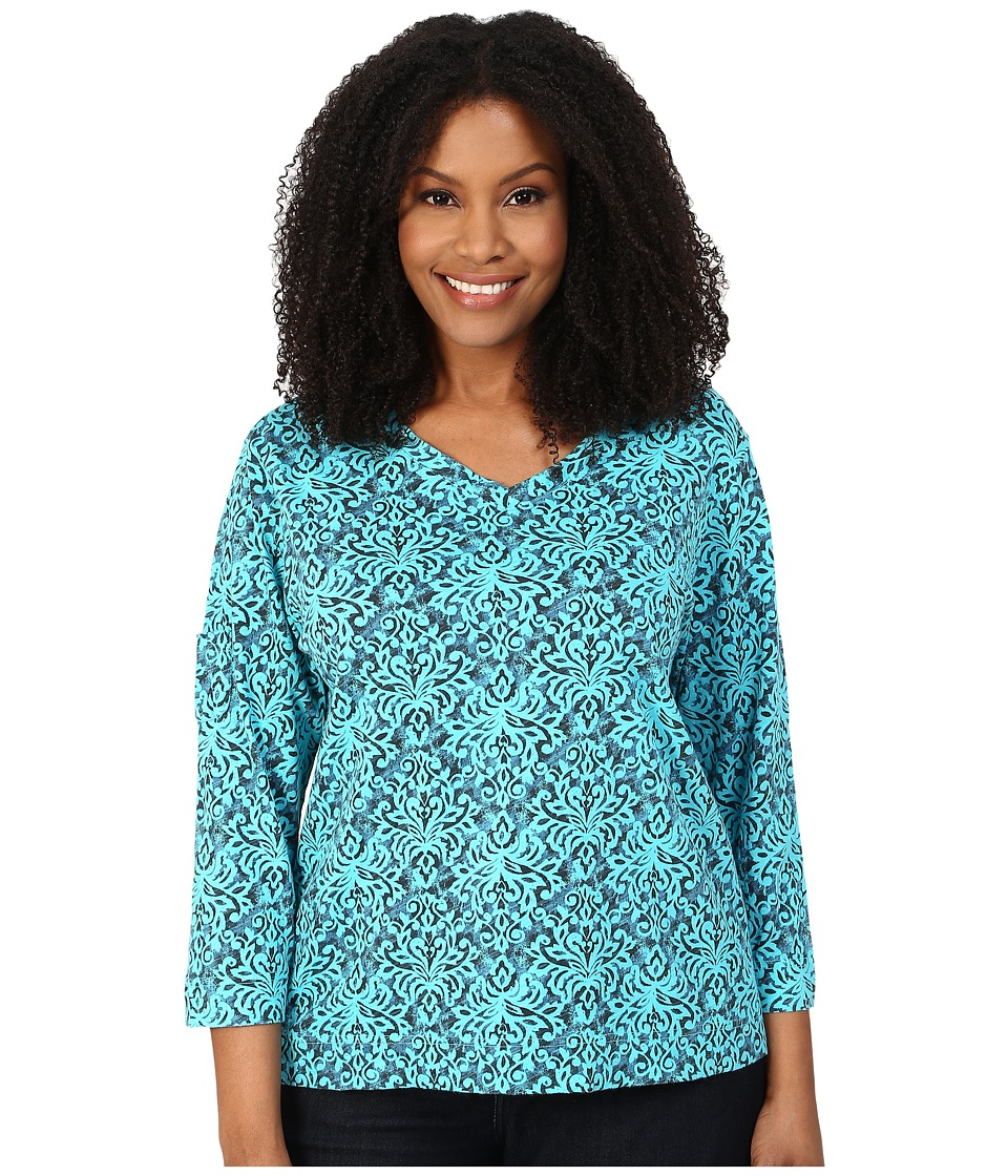 Fresh Produce - Plus Size Baroque Heritage 3/4 Sleeve Fem Tee (Luna) Women