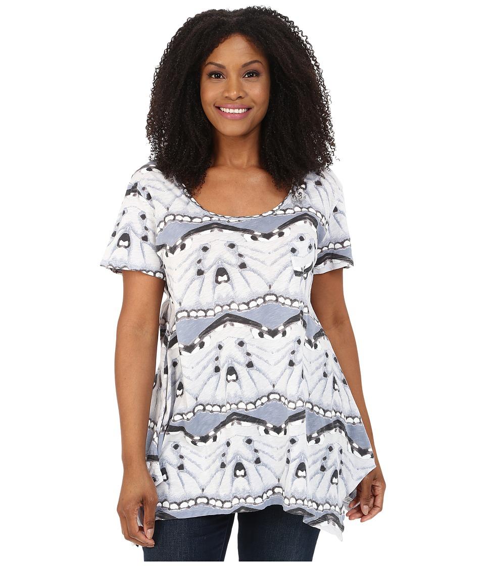 Extra Fresh by Fresh Produce - Plus Size Flutter Vintage Drape Tee (Vapor) Women's T Shirt plus size,  plus size fashion plus size appare