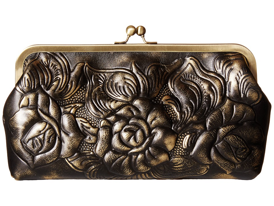 Patricia Nash - Metallic Rose Tooled Potenaz Clutch (Gold) Clutch Handbags
