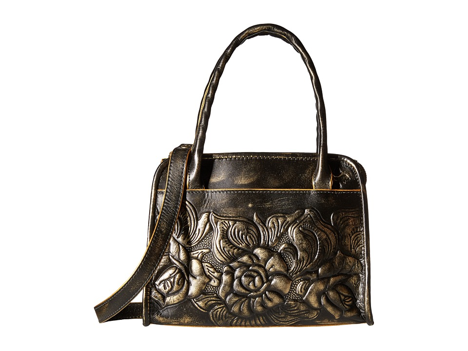 Patricia Nash - Metallic Rose Tooled Small Paris Satchel (Gold) Satchel Handbags