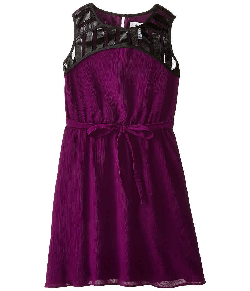 Us Angels - Crinkled Chiffon Sleeveless Illusion w/ Tie Belt Full Skirt (Big Kids) (Amethyst) Girl's Dress
