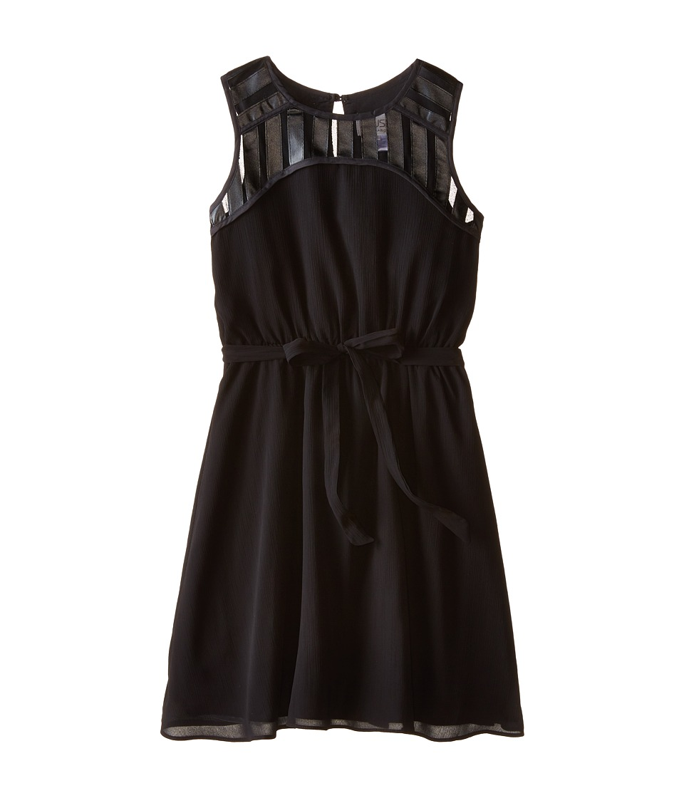 Us Angels - Crinkled Chiffon Sleeveless Illusion w/ Tie Belt Full Skirt (Big Kids) (Black) Girl's Dress