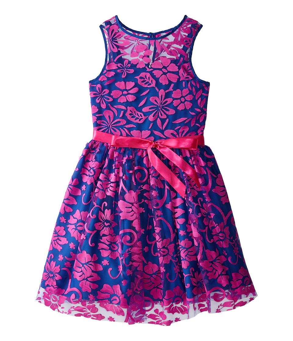 Us Angels - Irridescent Lace Sleeveless Illusion w/ Tie Belt Full Skirt (Big Kids) (Magenta) Girl's Dress