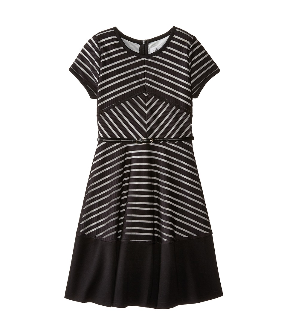 Us Angels - Shadow Stripe Knit Short Sleeve Mitered Stripe w/ Belt Full Skirt (Big Kids) (Black) Girl's Dress