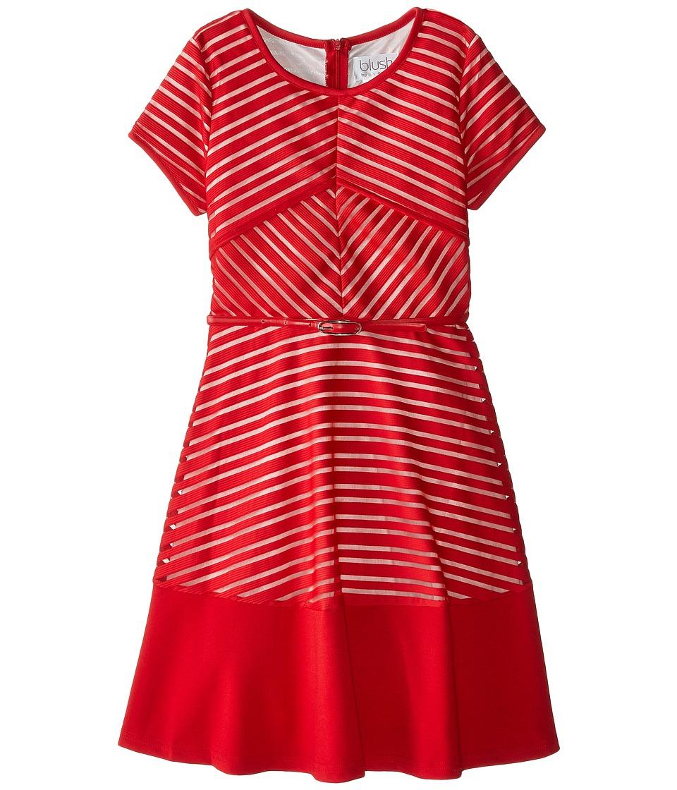 Us Angels - Shadow Stripe Knit Short Sleeve Mitered Stripe w/ Belt Full Skirt (Big Kids) (Ruby) Girl's Dress