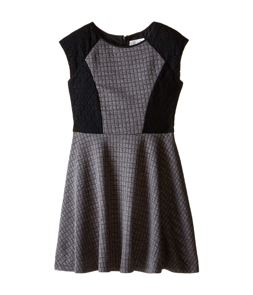 Us Angels - Quilted Double Knit Cap Sleeve Fit Flair (Big Kids) (Grey) Girl's Dress
