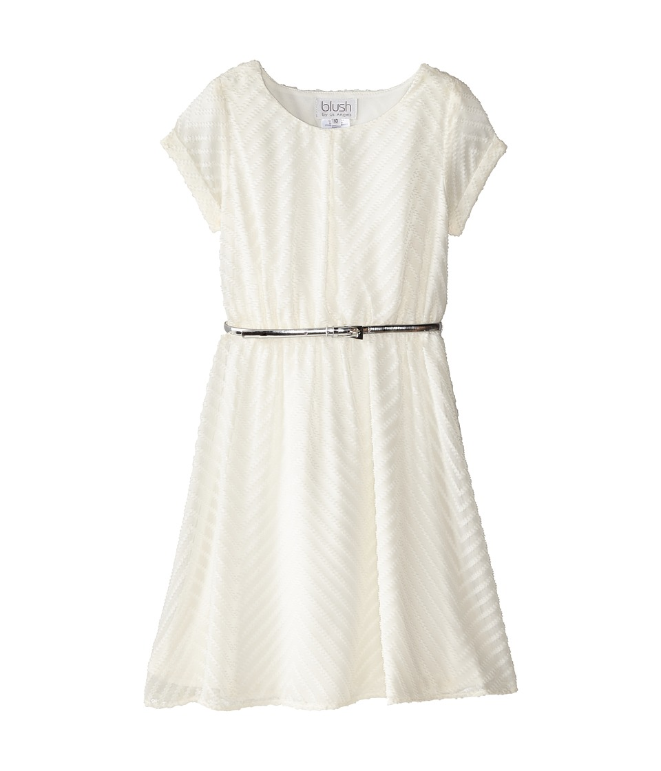 Us Angels - Chevron Chiffon Short Sleeve w/ Peek A Boo Yoke Back (Big Kids) (Cr me) Girl's Dress