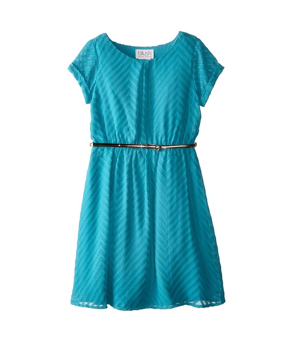 Us Angels - Chevron Chiffon Short Sleeve w/ Peek A Boo Yoke Back (Big Kids) (Peacock) Girl's Dress