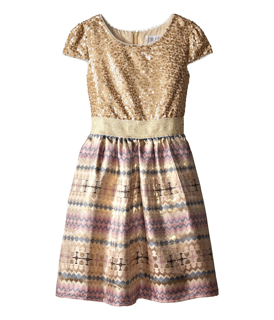 Us Angels - Sequin Aztec Brocade Cap Sleeve w/ Full Skirt (Big Kids) (Gold) Girl's Dress