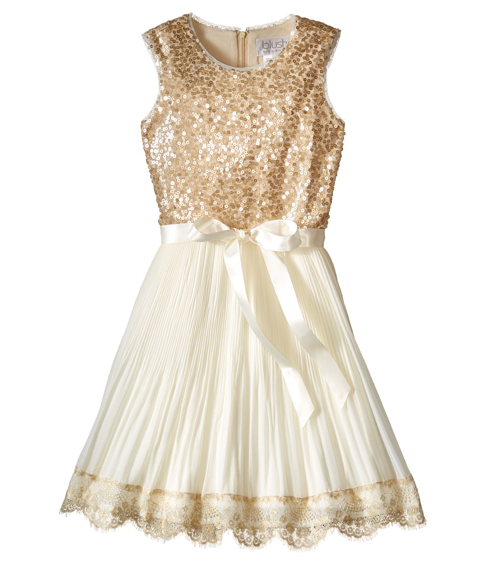 Us Angels - Sequin Chiffon Sleeveless Dress w/ Pleated Full Skirt (Big Kids) (Cr me) Girl's Dress