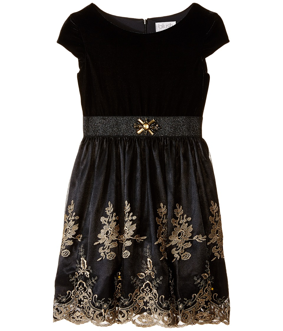 Us Angels - Velvet Embroidery Netting Cap Sleeve w/ Full Skirt (Big Kids) (Black) Girl's Dress