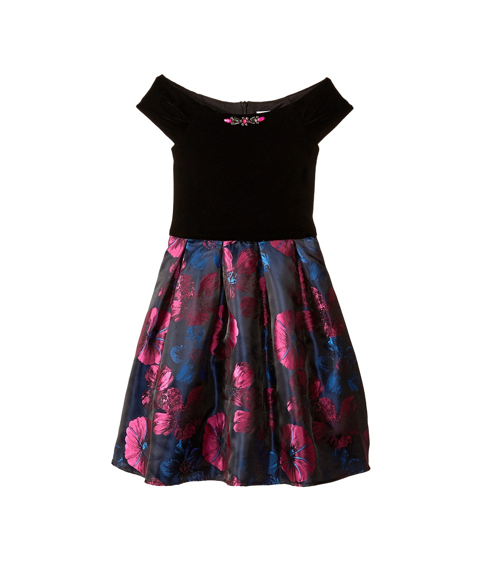 Us Angels - Velvet Pansy Brocade Drop Sleeve w/ Full Skirt (Big Kids) (Fuchsia) Girl's Dress