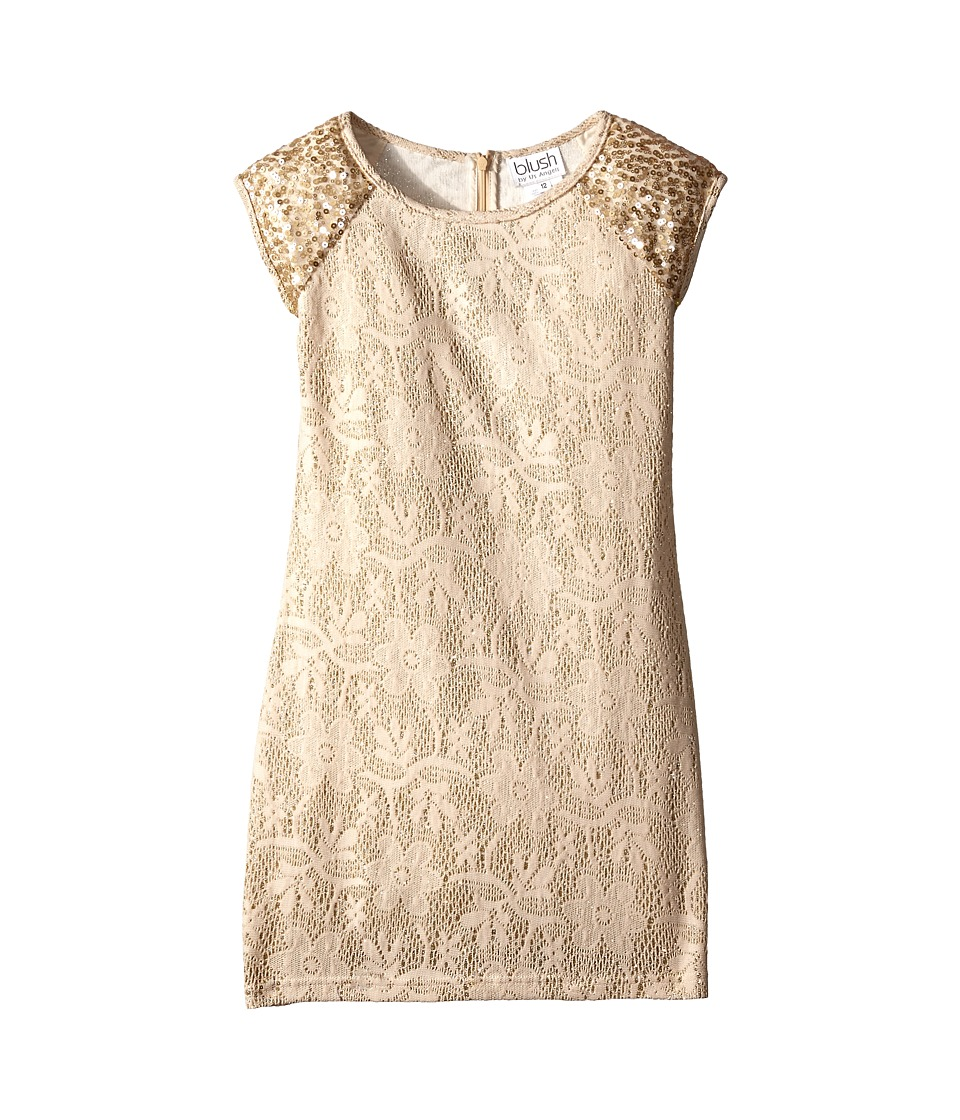 Us Angels - Bonded Met Knit Lace Cap Sleeve Fitted Sheath w/ Sequins (Big Kids) (Gold) Girl's Dress