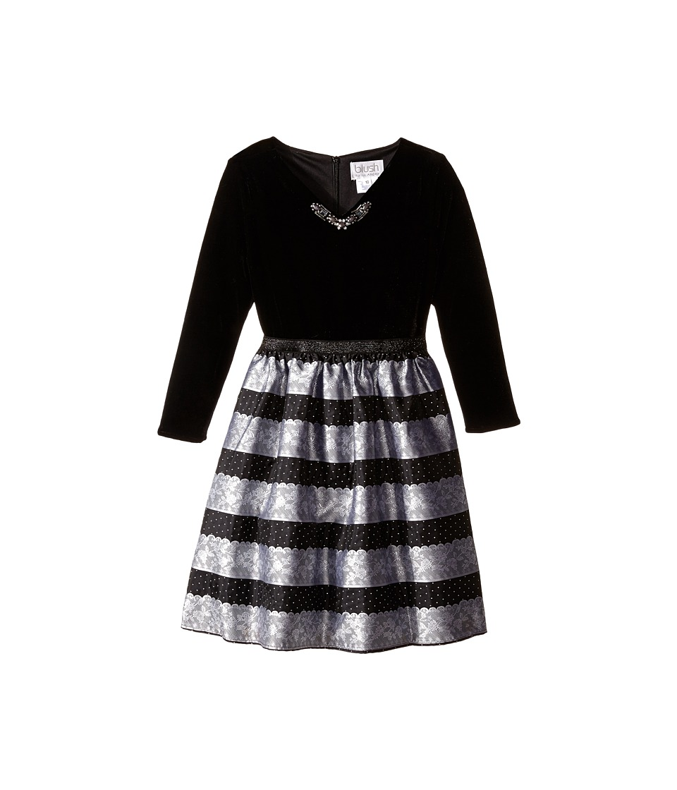 Us Angels - Velvet Lace Stripe Brocade 3/4 Sleeve w/ Full Skirt (Big Kids) (Silver) Girl's Dress