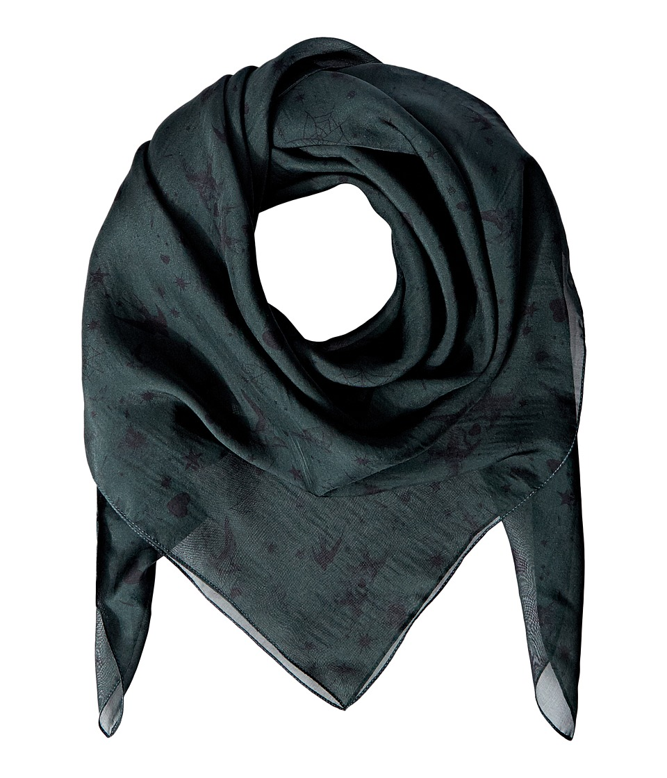 The Kooples - Silk Chiffon Print Scarf (Green) Scarves