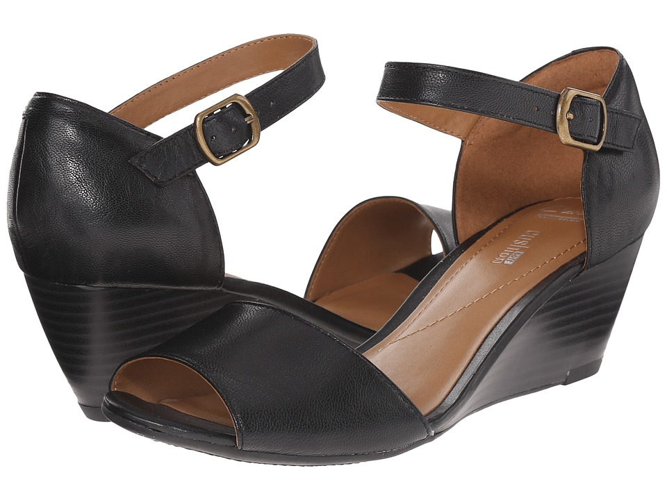 Clarks - Brielle Drive (Black Leather) Women's Wedge Shoes