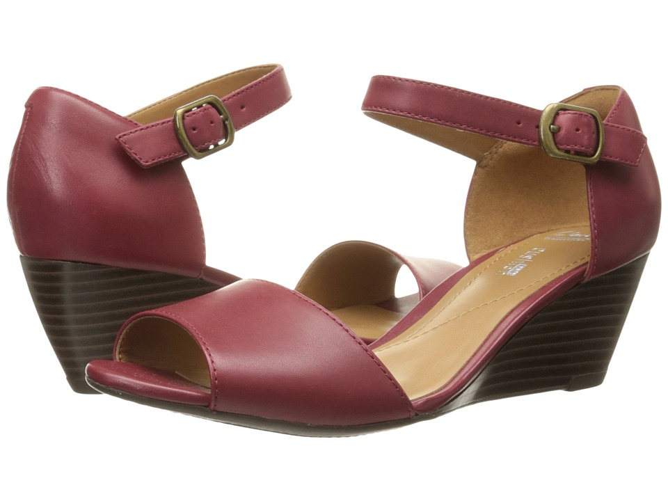Clarks - Brielle Drive (Cherry Leather) Women's Wedge Shoes
