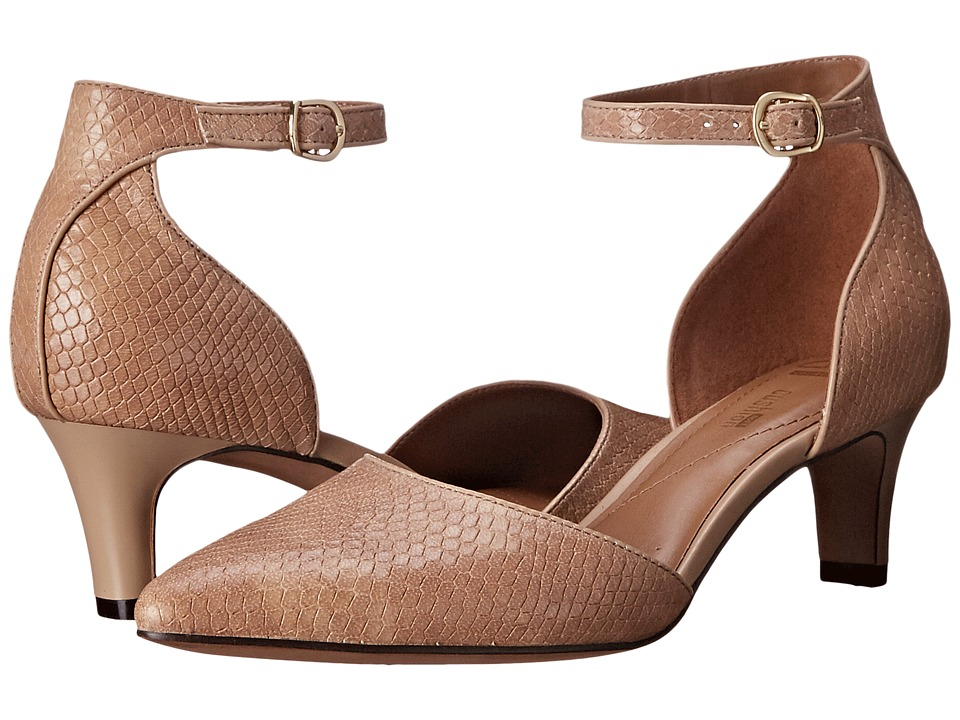 Clarks - Crewso Reading (Nude Snake Print Leather) Women's 1-2 inch heel Shoes
