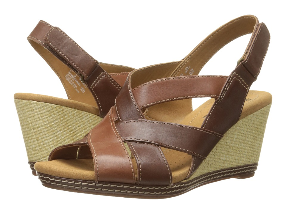 Clarks - Helio Coral (Brown Multi Leather) Women's Wedge Shoes
