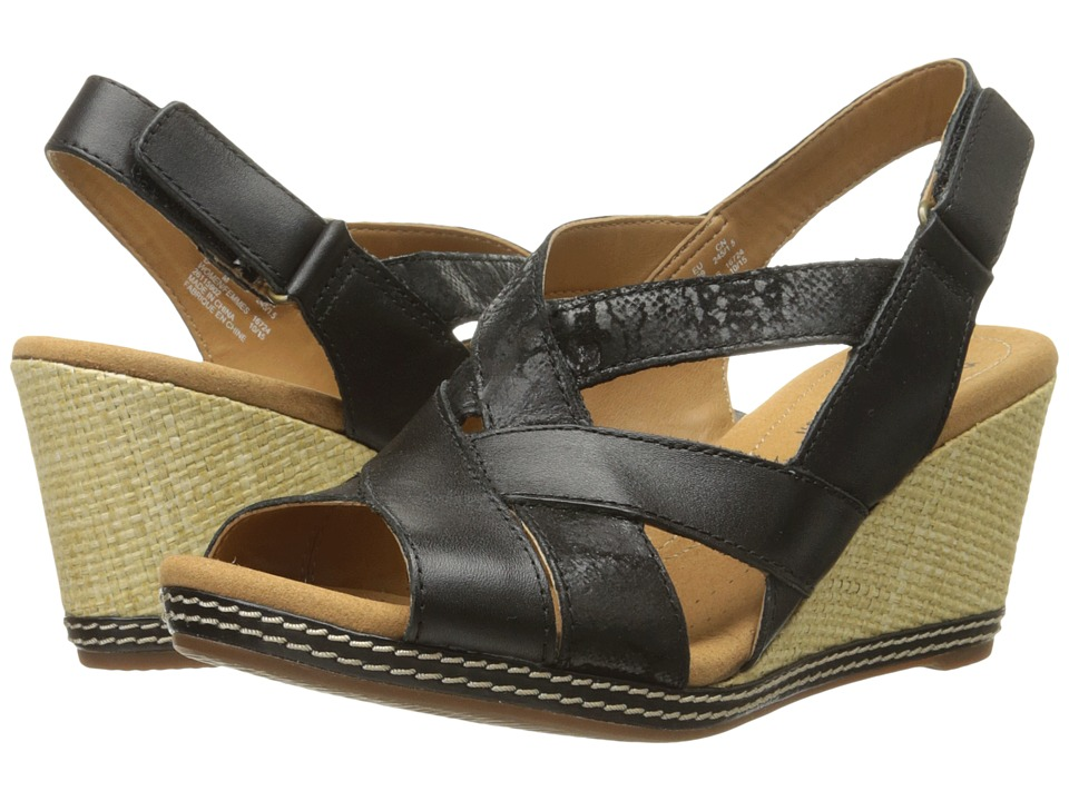 Clarks - Helio Coral (Black Comb Leather and Suede) Women's Wedge Shoes
