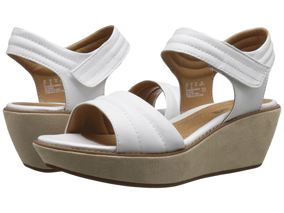 Clarks - Hazelle Alba (White Leather) Women's Wedge Shoes